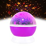 TOP Gift Boys Toys Age 1 2 3 4 5 6 7, Night Light Moon Star 360 Degree Rotation Unique Best Gifts Kids 1-6 Year Old Girl Gifts Cool Toys 1-6 Year Old Boys Toys 1-6 Year Old Girls Purple TGUKXKD06