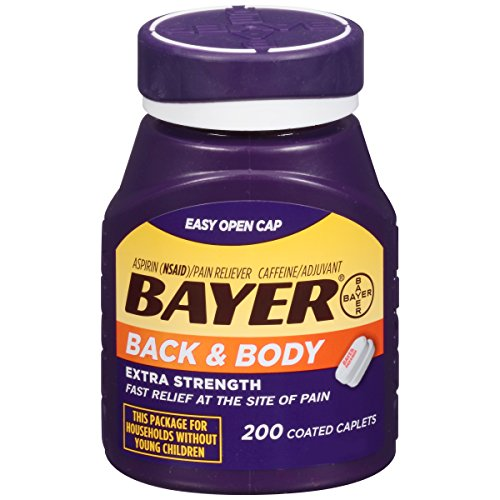 Bayer Aspirin, Back & Body, 500 mg, Coated Tablets, 200 count (Best Pain Medicine For Back Pain)