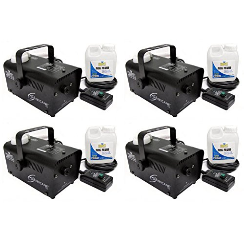 (4) Chauvet Halloween DJ Fog Smoke Machines w/ Fog Fluid & Wired Remote | H-700 by Chauvet DJ