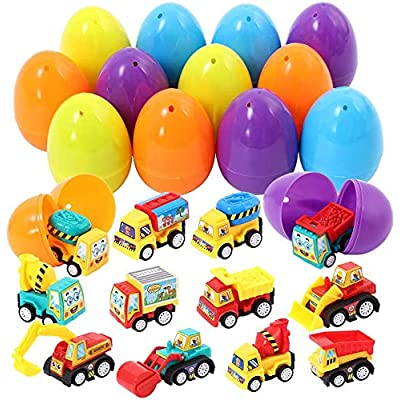 Acekid Easter Eggs Filled with Pull Back Vehicle, 12pcs Kids Cartoon Construction Cars Set, Easter Theme Party Favor, Easter Eggs Hunt, Basket Stuff Fillers for Boys & Girls: Toys & Games