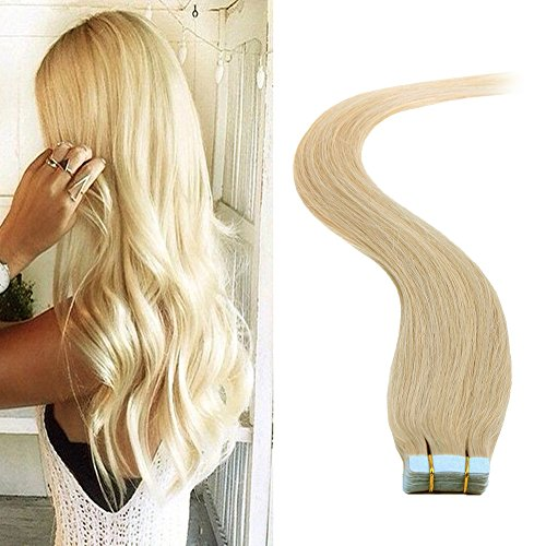 BETTY tape In Human Hair Extensions - 16 18 20 22 24 Inch 20pcs 30g-70g Set - Silky Straight Skin Weft Human Remy Hair (18inch, #24) - 30
