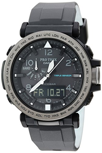 Casio Men's 'PRO TREK' Solar Powered Silicone Watch, Color:Black (Model: PRG-650Y-1CR) ()