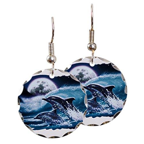 - Earring Circle Charm Moon Dolphins Ocean Life