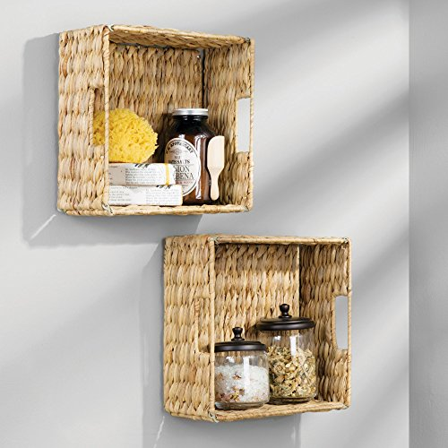 mDesign Natural Woven Hyacinth Closet Storage Organizer Bin - Half Height Cube - Handles, Collapsible, for Closet, Bedroom, Bathroom, Entryway, Office - 5.25'' High, 4 Pack, Steel Frame, Natural by mDesign (Image #5)