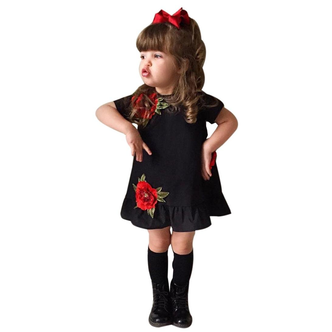 Clode® for 0-5 Years Old Girls, Cute Summer Toddler Baby Girl Kids Short Sleeve Rose Floral Applique Princess Tutu Dress Sundress Outfits Clothes for Holiday,School,Party Clode-T60