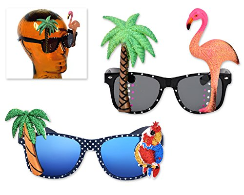 Ace Select 2 Pieces Hawaiian Tropical Novelty Sunglasses Flamingo Parrot Tree Party Glasses Eyewear for Fancy - Sunglasses Tropical