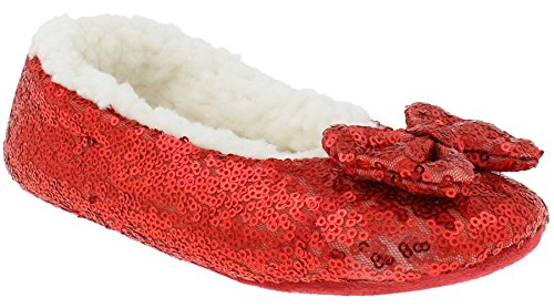 Capelli New York Girls Sequined Ballet Indoor Slippers With Bow Detail Red 12/13 ()