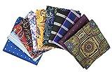 MENDENG Men's Assorted Cotton Polka Dots Pocket Square Handkerchief Set of 11