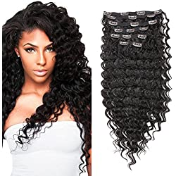 """FASHION LINE 7 Pieces 20 Clips In On Hair Extensions Silicone Triple Weft Clip On In HairPieces Synthetic Straight Body Curly Deep Wave Wavy (24"""" Deep Wave, 2 Dark Brown)"""