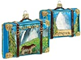 Pinnacle Peak Trading Company Yellowstone Travel Suitcase Polish Glass Christmas Ornament ONE Decoration