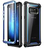 i-Blason Case for Galaxy Note 8 2017 Release, [Ares Series] Full-body Rugged Clear Bumper Case with Built-in Screen Protector (Black/Blue)