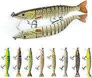 DECOnology 6 Packs 12 Segments Fishing Lures Bass Trout Segmented Multi Jointed Swimbaits, Slow Sinking Fish B