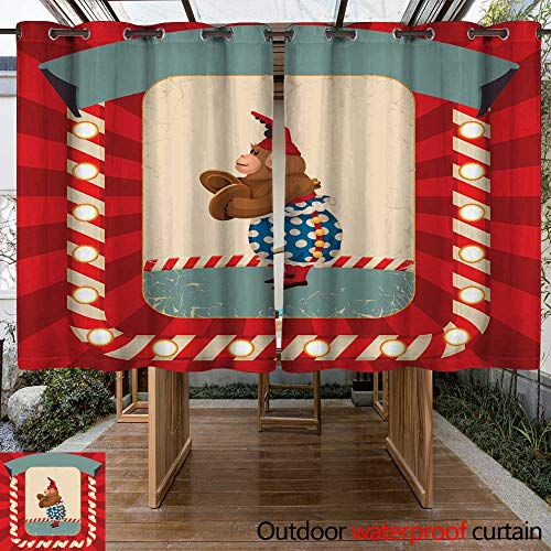 RenteriaDecor Outdoor Curtains for Patio Waterproof Vintage Wind up Toy Monkey with Timpani and red hubcap W55 x L72