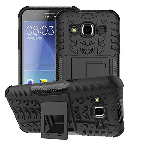 SRY Cool TPU desmontable [Kickstand] 2 en 1 resistente a prueba de golpes cubierta de la caja para Samsung Galaxy J2 2015 ( Color : Black ) Black