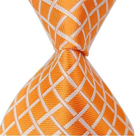 Allbebe Men's Fashion Checks Orange Jacquard Woven Silk Tie Microfiber Necktie