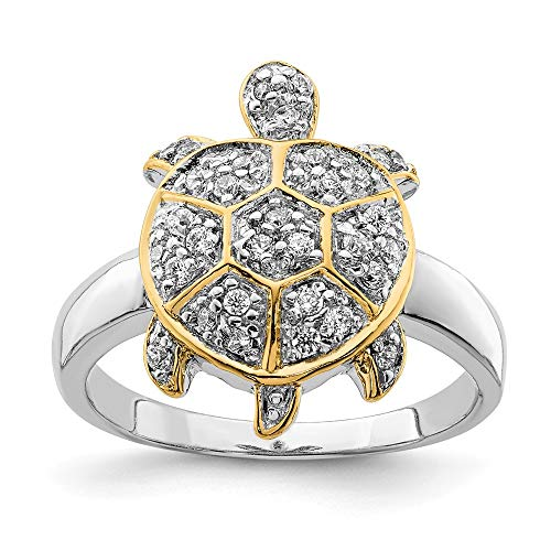 925 Sterling Silver Cubic Zirconia Cz Flash Gold Plated Turtle Band Ring Size 6.00 Animal Fine Jewelry Gifts For Women For Her - Indian Turtle Diamond Cut
