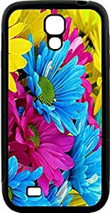 Blueberry Design Galaxy S4 Case Color Lite Blue pink and Yellow Colorful Flowers Design - Ideal Gift