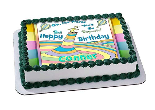 Oh, the Places You'll Go! Edible Cake Image Topper Personalized Birthday 1/4 Sheet Custom Sheet Party Birthday Sugar Frosting Transfer Fondant Image ~ Best Quality Edible Image for cake -