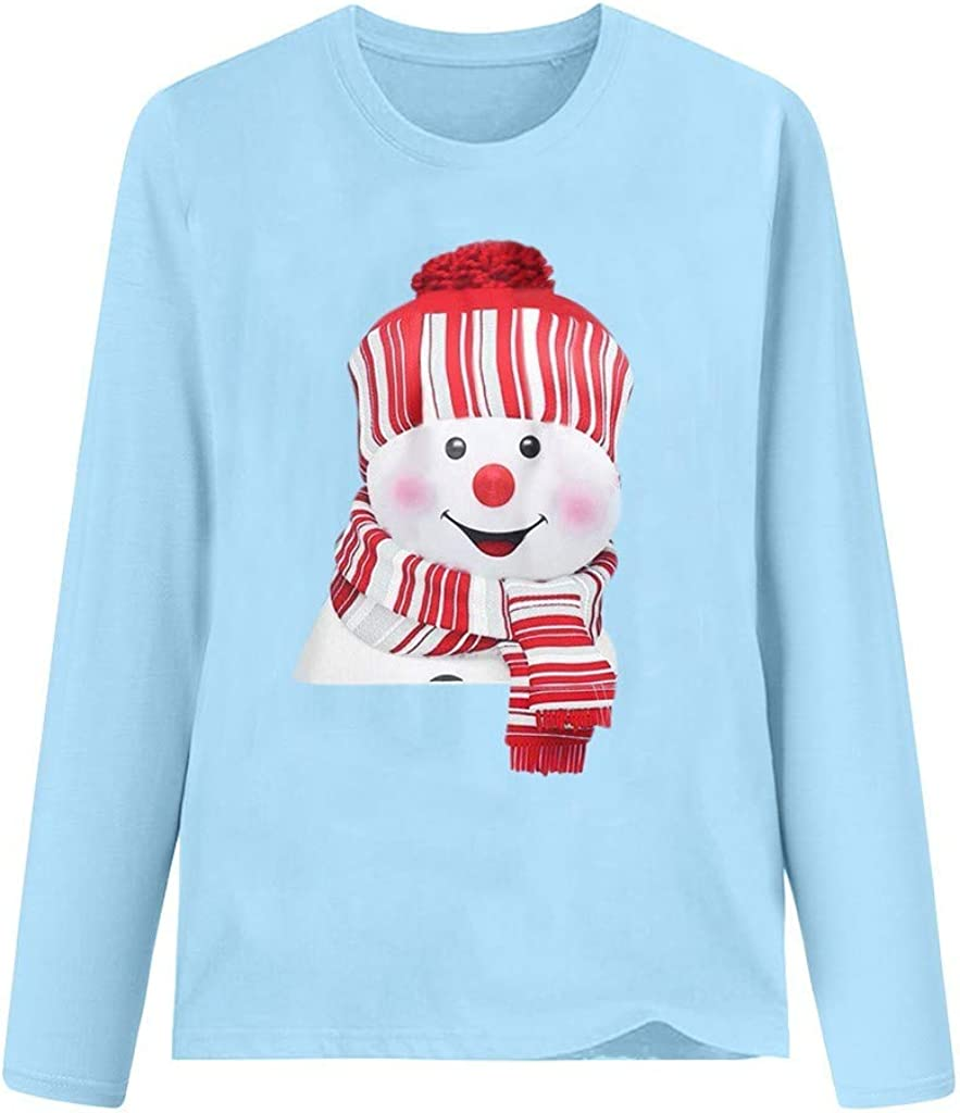 WUAI Womens Christmas Holiday Snowman T-Shirt Casual Long Sleeve O-Neck Raglan Baseball Basic Tee