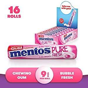 Mentos Pure Fresh Chewing Gum - Bubble Fresh Flavour - Sugar Free - Perfect to Share On The Go - 9-piece Rolls (Multipack of 16 Rolls)