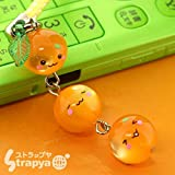 Orange Mikan Chan Triplets Crystal Cell Phone Strap