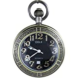 OGLE Waterproof Bronze Magnifier Calendar Date Day Luminous Chain Fob Self Winding Automatic Skeleton Mechanical Pocket Watch (Bronze Black)