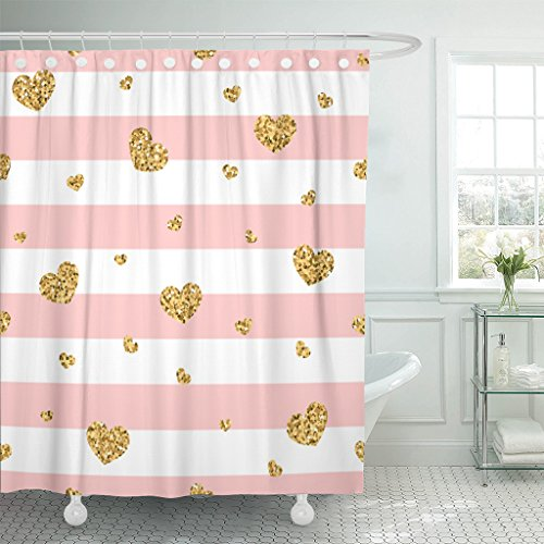 Emvency Shower Curtain Chevron Golden Hearts Stripes Gold and Pink Abstract Retro Valentine Day Design Graphic Waterproof Polyester Fabric 72 x 72 Inches Set with ()