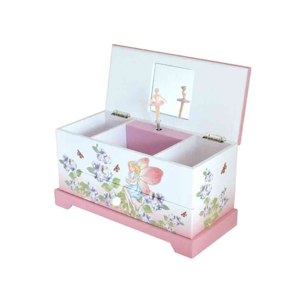 Girls Pink Fairy Musical Jewellery Trinket Box With Rotating