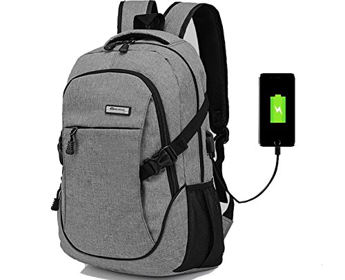 Doingbag Unisex-Adult Hiking Laptop Backpack USB Charging Port Waterproof Camping Outdoor Rucksack, Grey by Doingbag