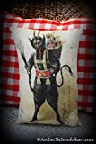 German Christmas Gruss Von Krampus Pillow - Handmade - 16 x 10 Inch