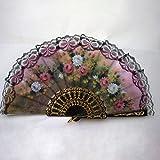 Vintage Floral Lace Fabric Hand Held Fans Dance Folding Fans Ball Party Decor