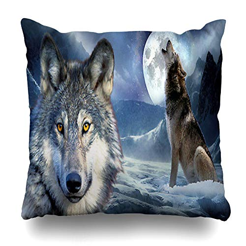 InnoDIY Throw Pillow Covers Wild Wolf On Iceberg Howling Moon Pillowslip Square Size 18 x 18 Inches Cushion Cases Pillowcases ()