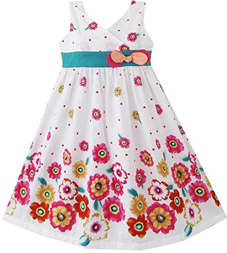 Rosa, Girls Colorful Sunflower Turquoise Tie Bow Decoration White Cotton Dress,Pink 6