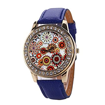 DressLksnf_Reloj Vintage Moda de Mujer Pulsera Deportiva Banda de Cuero Reloj Cadena Ajuste Elegante Estampado Floral Acero Inoxidable Durable Digital ...