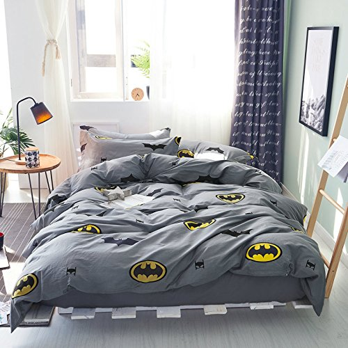 Papa&Mima Batman Fashion Cartoon Style Duvet Cover Set Pillow Cases 500TC Soft Cotton Print Fabric King Flat Sheet Set 4pcs 220x240cm Bedding Sets