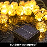 padom Warmwhite LED Solar Array 4m 20 LED Solar String Creative Sepaktakraw Shape Warm Bright Light Garden Outdoor Decor Waterproof