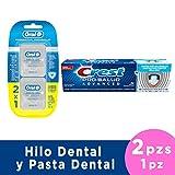 CREST + ORAL-B Pasta Pro Salud Advanced de 120 ml y 2 x Hilo Dental Multi-Beneficios, Menta, 25 m