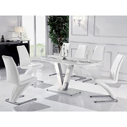 Super Venus Large White Glass Dining Table 6 White Z Chairs Machost Co Dining Chair Design Ideas Machostcouk