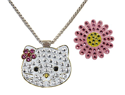 Pink Sunflower and Kitty with Crystals from Swarovski interchhangable Charms (Crystal Swarovski Insert)
