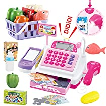 SONiKi Cash Register Pretend Play Supermarket Shop Toys with Calculator,Working Scanner,Credit Card,Play Food,Money and More