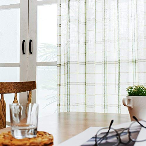 Plaid Green Curtains (Checkered Sheer Curtains for Living Room Gingham White Window Plaid Sheer Curtains for Bedroom Classic Linen Textured Green Striped Window Curtain Panel 63 inches Long 1 Pair)