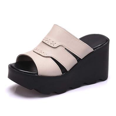 cc9aed13cd5b0 Amazon.com | Btrada Women Leather Slippers High Heels Sandals ...