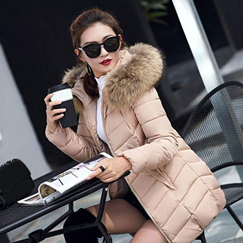 Estilo Largos Khaki Caliente Outdoor Mujer Piel De Invierno con Slim Pluma Especial Fácil Parkas Plumas Capucha Fit Elegante waYa8xT6