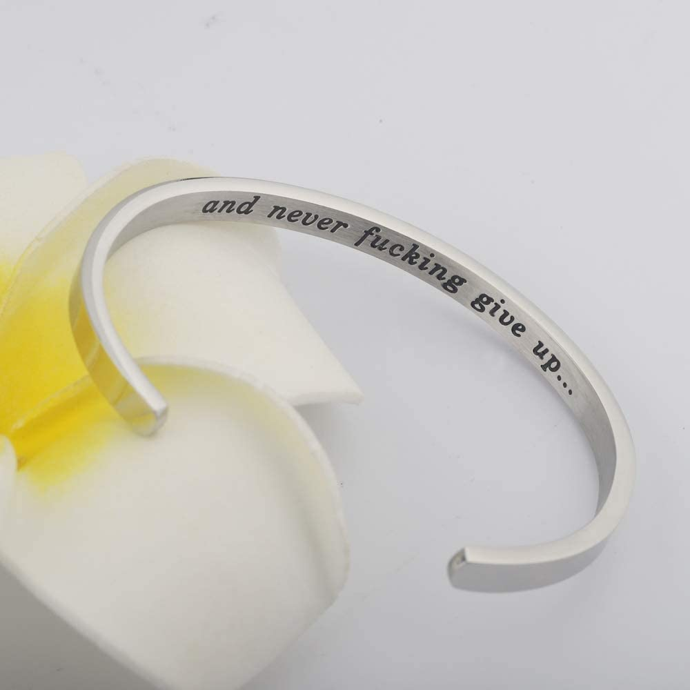 Keep Fucking Going Bracelet Keep Going and Never Fucking Give up Cuff Bangle Inspirational Gift Motivational Jewelry