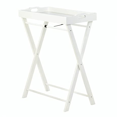 Folding Tray Tables, Portable Dinner Tray Table, Wood, White