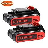 2PACK LBXR20 Battery 3.0Ah Replace for Black+Decker 20V Battery 20V Max Lithium LB20 LBX20 LST220 LBXR2020-OPE LBXR20B-2 LB2X4020 Cordless Tool Battery