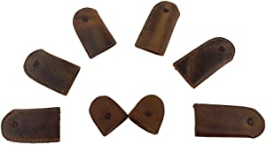 Hide & Drink, Leather Thimbles for Thumb & Index Finger (8 Pcs) - Finger Protectors - Handmade
