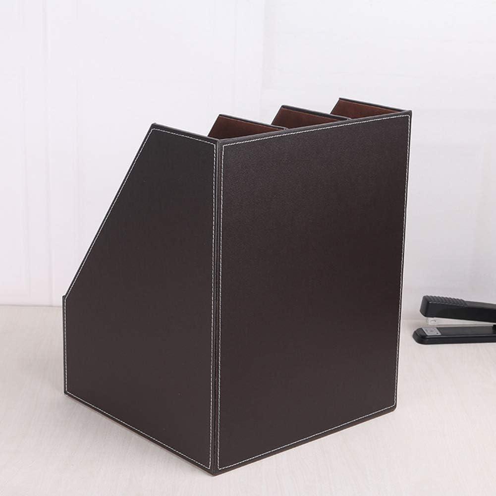 Archivo revistero,Marr/ón Estante Caja de Documentos contenedor contenedor Archivo A4 Escritorio de Cuero de Madera con 3 Ranuras bandejas WJYLM Bandeja del Organizador de Documentos