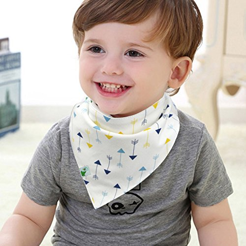 BabyDew Bandana Bibs, Unisex 4 Pack Bib with Snaps - Best for Babies Drooling, Teething and Feeding - Soft Cotton, Bamboo & Waterproof Fleece. Perfect Baby Shower Gift for Boys & Girls (Bonus eBook)