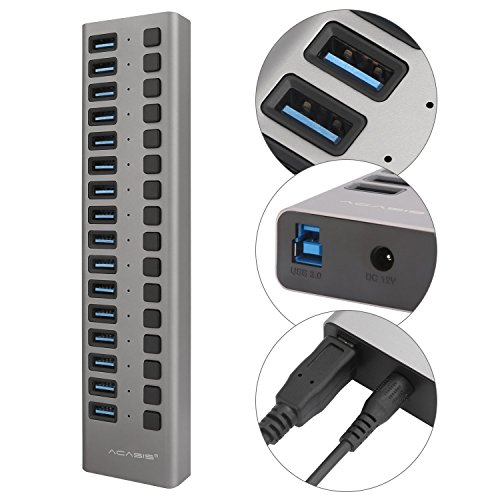 USB 3.0 Hub with Power Adapter and Charging Port & Individual Power Switches for Windows Vista/7/8/10; MacOS-8/9/X, UNIX, Linux,16 Port,Gray by worldwidetelyUS